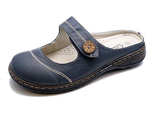 Damen Marineblau zum reinschlüpfen Freizeit Wandern Sommer pantoletten-clogs leicht Schuhgrößen 3-8