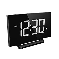 Mpow Digital Alarm Clock, Curved-screen Clock with 3.75'' LED Dimmer Digits Display, Bedside Alarm Clock with 3 Alarm Sounds, 30 Minute Ring Time, 12/24 Hour, Backup for Clock Setting [White]