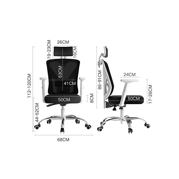 41MyW5W81ZL Diseño ergonómico: el diseño único imita la columna vertebral humana. El respaldo de la silla puede controlar su postura en cualquier momento, para asegurar la alineación de la columna y el soporte de la postura de la espalda baja y aliviar su dolor de espalda. Varios ajustes: las diversas características de ajuste le brindan un mejor soporte mientras está sentado en nuestra silla ergonómica de oficina. Brazos regulables en altura, soporte lumbar, reposacabezas. Un ángulo de inclinación de 90 a 150 grados. Material de malla transpirable: el material de red diseñado con el asiento con la estructura de aire correcta permite un flujo de aire que proporciona una posición sentada fresca y cómoda. El aire fresco circula a través de la red y mantiene la espalda libre de sudor, lo que le permite sentarse cómodamente en la silla durante más tiempo que las sillas convencionales.