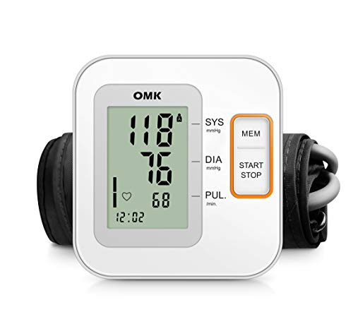 Automatic Blood Pressure Monitor Upper Arm,OMK Blood Pressure Machine with Cuff 8.7-15.7in, 2x120 Memories, Large Display, Irregular Heartbeat Detection, Accurate and Easy to Use, FDA Approved
