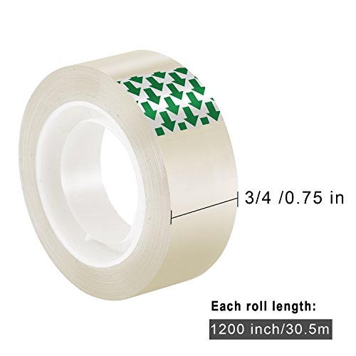 AIEX Transparent Tape Clear Tape 19mm 3/4 Inches Tape Refill for Office, Home, School(16 Rolls)