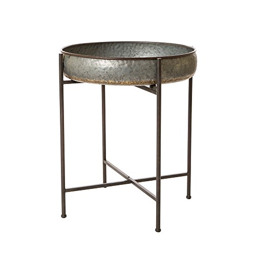 Glitzhome Rustic Tray Accent End Table Metal Sofa Side Table (Shelf Tray)