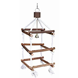 Trixie Natural Living Wooden Bird Tower with Ropes for Pet Parakeets and Cockatiels 90