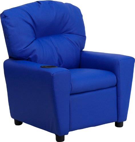 Contemporary Blue Vinyl Kids Recliner with Cup Holder BT-7950-KID-BLUE-GG