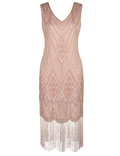 PrettyGuide Women 1920s Dress Gatsby Cocktail Sequin Art Deco Flapper Dress L Pink