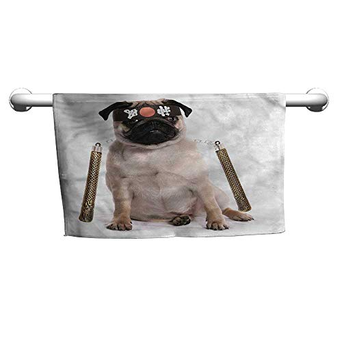 flybeek Custom Towel Pug,Martial Art Ninja Puppy,t Shirt Towel for Curly Hair