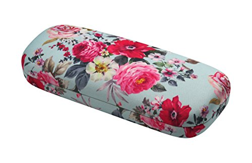 Rachel Rowberry Floral Eyeglass Case with eyeglass cleaning cloth | Medium hard eyeglass case in a unique Microfiber Smooth Finish (AS126 Rose Bouquet - My Eyeglasses