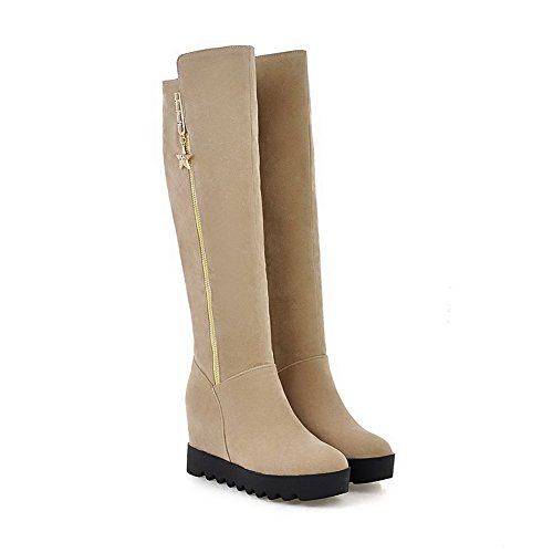 Allhqfashion Womens High-top Zipper Smalto Opaco Tacco Tondo Stivaletti Chiusi Beige