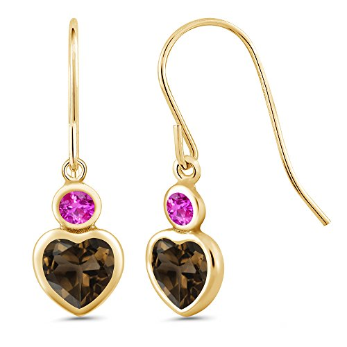 (Gem Stone King 1.14 Ct Heart Shape Brown Smoky Quartz Pink Sapphire 14K Yellow Gold Earrings)
