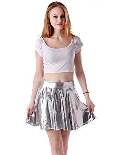 Women's Casual Fashion Flared Pleated A-Line Circle Skater Skirt (Silver, Large) (Disco Themed Clothes)