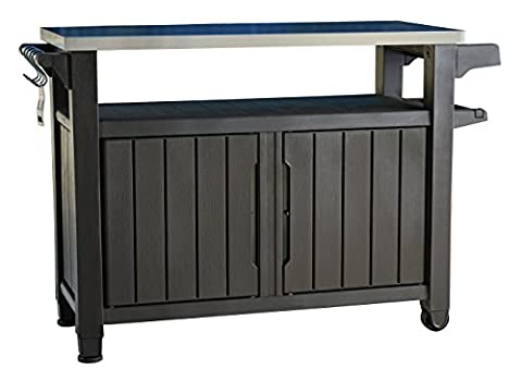 Keter Unity XL Indoor Outdoor Entertainment BBQ Storage Table / Prep Station / Serving Cart with Metal (Outdoor Cooking)