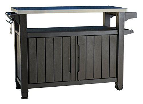 Keter Unity XL Indoor Outdoor Entertainment BBQ Storage Table / Prep Station / Serving Cart with Metal Top (Grill Accessory Storage compare prices)