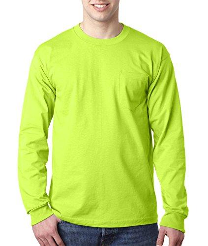 Bayside 8100 Pocket Long-Sleeve Tee Shirt - Lime - Large ()