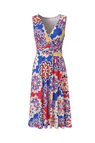 - BEAUTIFUL-LIFE Women's Sleeveless Summer V-Neck Casual Wrap Flower Horn Long Dress (X-Large, Light Blue)