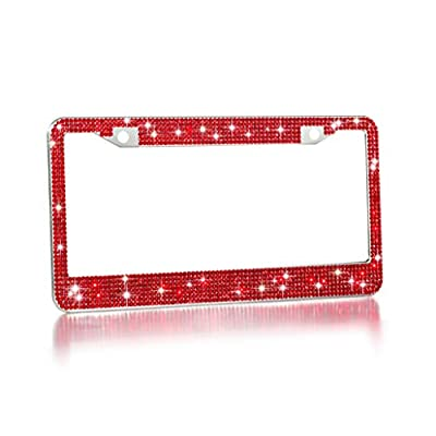 2 Pack Luxury Handcrafted Red Rhinestone Premium Stainless Steel Bling License Plate Frame with Gift Box | 1000+ pcs Finest 14 Facets SS20 Red Rhinestone Crystal | Anti-Theft Screw Cap: Automotive