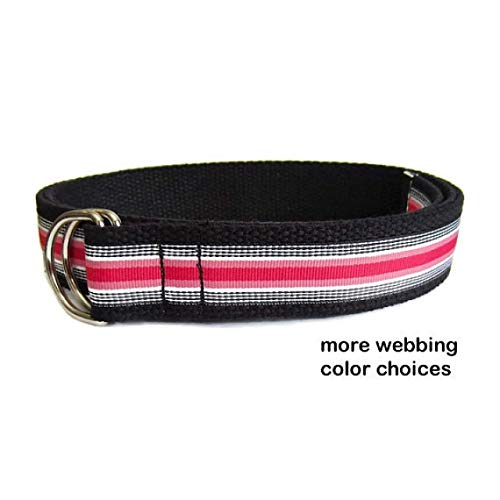 (Mens Belt/Canvas Belt/Pink White Black Striped Belt with 8 colors of webbing D-ring Belt Ribbon Belt - in sizes XS to Big and Tall)