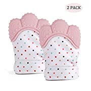 Joylish 2 Pack Baby Teething Mittens for Infants - Toddlers Crinkle Toys Teether Mitten Gum Pain Relief, Pink