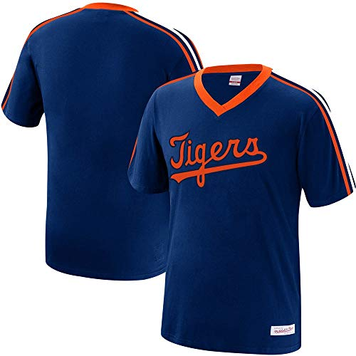 Mitchell & Ness Detroit Tigers MLB Men's Overtime Win Vintage V-Neck T-Shirt (X-Large)