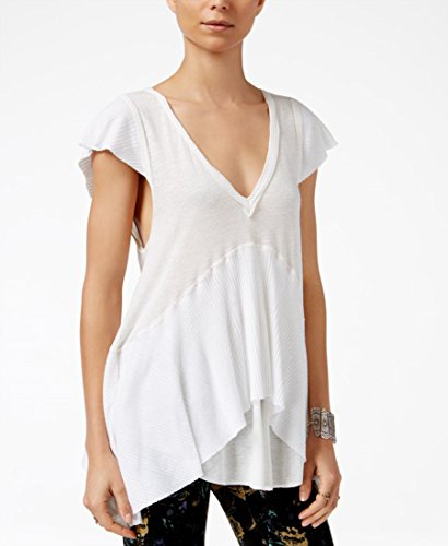 Free People Womens Mary Anne Ribbed Cap Sleeves Casual Top White S from Free People
