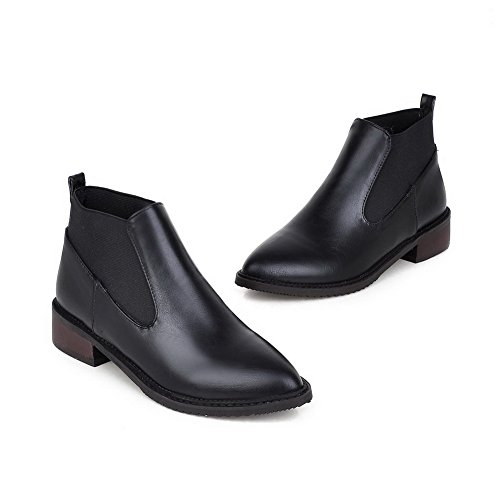 AgooLar Women's Pointed Closed Toe Low Top Low Heels Solid Pu Boots Black JRMhuW