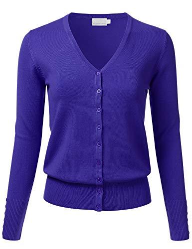 FLORIA Women's Button Down V-Neck Long Sleeve Soft Knit Cardigan Sweater RoyalBlue ()