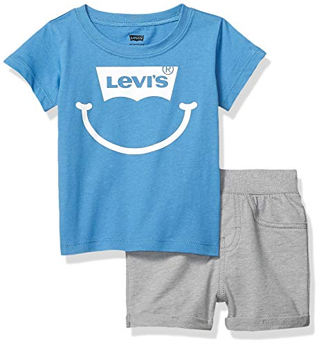 - Levi's Baby Boys Graphic T-Shirt and Shorts Two-Piece Set, Parisian Blue/Grey Heather, 6M