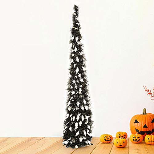 Yayoshow Collapsible Halloween Xmas Decoration Trees, Pop up Halloween Pumpkin Ghost Tinsel Sequins Tree with Stand for Home Fireplace Party Decoration, Easy-Assembly & Reusable, 3.5ft(106CM) by Yayoshow