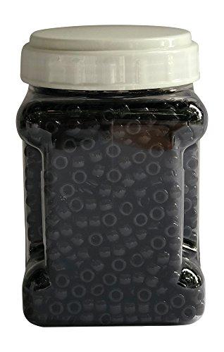 Black Plastic Pony Beads, 9mm, Opaque Bulk Set in 1 Clear Storage Organizer, 2,000 Count by DenverArt