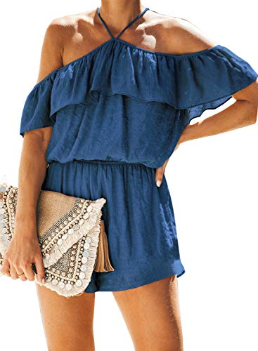 ZESICA Women's Summer Halter Neck Spaghetti Straps Off Shoulder Elastic Waist Ruffle Beach Short Jumpsuit Romper Playsuit Blue