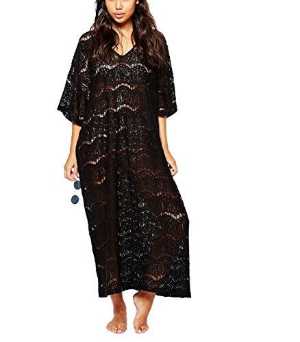 Women's Bathing Suit Cover Up Bikini Swimsuit Swimwear Crochet Lace Beach Dress (Black)