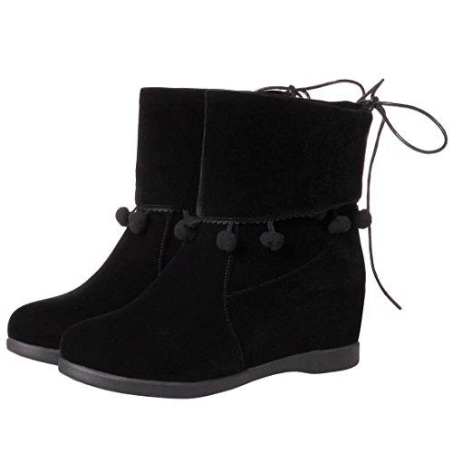 Warm Keilabsatz Schwarz Schuhe Winter Wedge Damen Aiyoumei Stiefeletten Ankle Boots Bequem