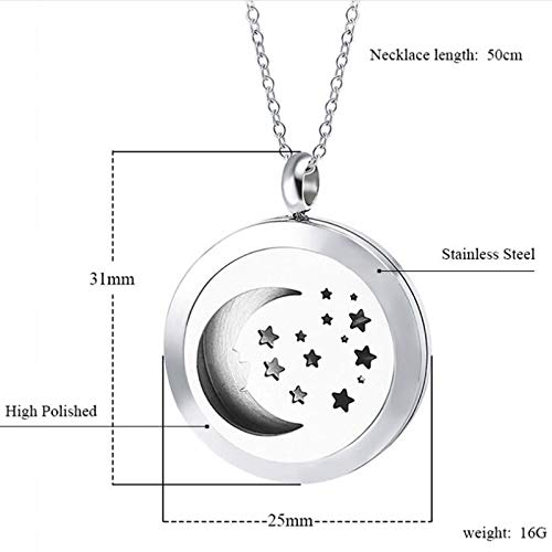 Aromatherapy Essential Oil Diffuser Locket Moon /& Stars Necklace Engraved Daddys Girls