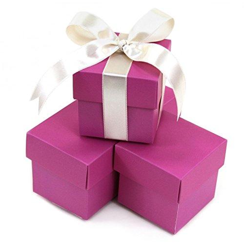 Koyal Wholesale 2-Piece Square Favor Boxes, Orchid, (Italian Favor Boxes)