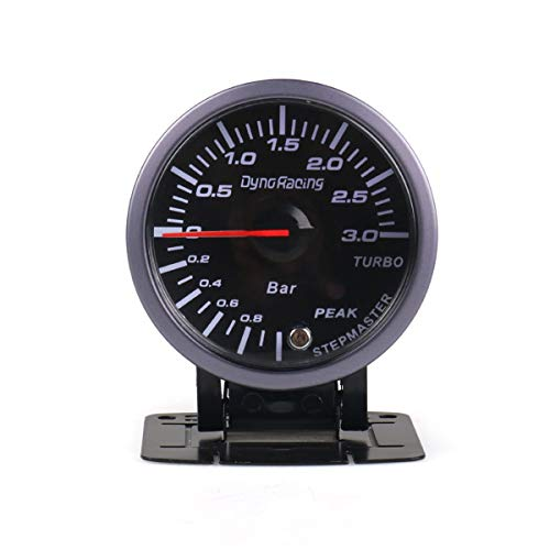 60MM 12V Car Turbo Boost Gauge 3 Bar with White & Amber Lighting Turbo Boost Meter Car Meter Accessories: