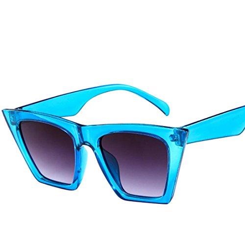 de Bleu Plastique pour Lunettes Soleil de Femmes Vacance Couleur Carre Lunettes Design U6qPPt