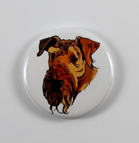 Airedale Terrier Bust (3) Pin Back Button