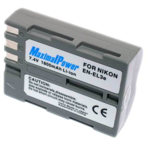 Pack Battery D70s (Maximalpower Li-ion battery for Nikon EN-EL3e,D90, D700, D300, D80, D70, D50, D200, D300s, D100, D70s, Fully Decoded with 3 yr warranty)
