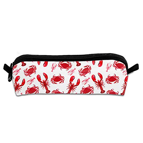 TPSXXY Crawfish Cute Students Pencil Case Pen Pouch Stationary Work Office Craft - Red Black Glitter Craw