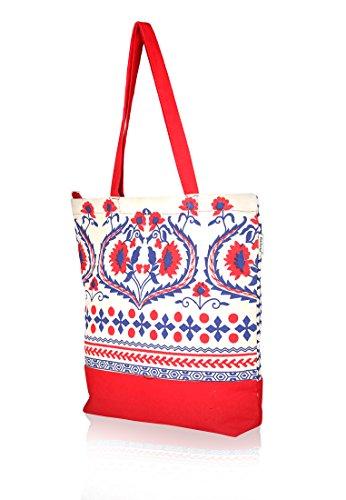 Pick Pocket, colore: rosso e bianco sporco, motivo floreale stampato, in tela