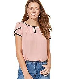 Milumia - Blusa de Cuello Redondo para Mujer, Estilo Informal, Plisada, Manga Curvada, con Cerradura en la Parte Trasera