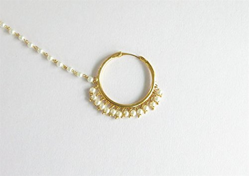 6a4151358e7 Bridal Gold Bollywood Wedding Nose Ring Chain Hoop/Indian - Import It All