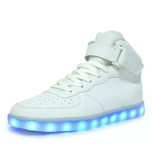 (présent: Petite Serviette) Junglest® 7 Couleurs Conduit Formateurs Lumière Élevée Haut Des Chaussures Pour Le Blanc Unisexe