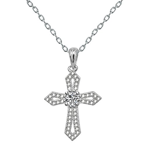 AoedeJ Religious Cross Pendant Necklace Sterling Silver Round Cut CZ Crucifix Necklace for Women and Men - Round Sterling Silver Crucifix