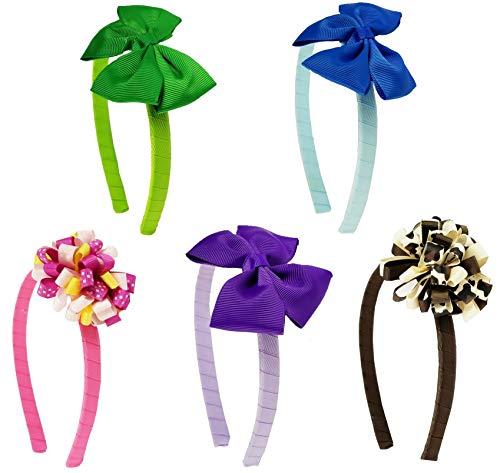 HipGirl 10pc Grosgrain Ribbon Wrapped 1/2 Headbands + Hair Bow Alligator Clips. Interchangable Assorted Fashion Accessory for Girl Women Teen Kid Toddler Children Adult