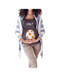 baskuwish Oh? Mommy's Little Easter Egg Maternity Tee Cute Pregnancy Tops for Expecting Mother