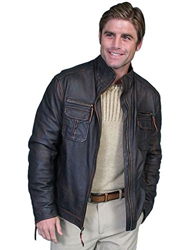 Scully Leather Mens Motorcycle Lambskin Zip Front Jacket Oxblood 2X