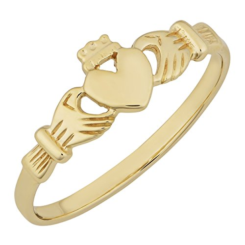 (Kooljewelry 10 Karat Yellow Gold High Polish Claddagh Ring (Size 5))