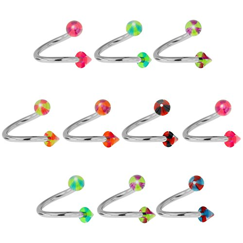 10 Pieces Pack of UV Propeller Cone with 10MM 316L Surgical Steel Twister Barbell Piercing Jewelry