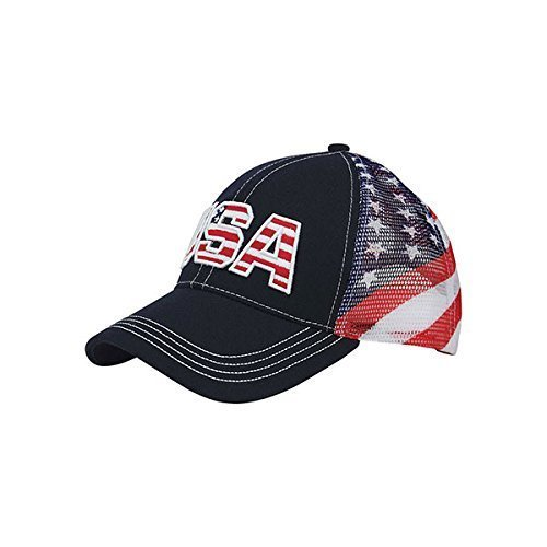USA flag embroidered trucker hat American Flag Patriotic Gift Souvenir Gift Tourist unisex hat Mesh back ()