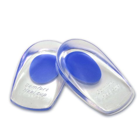 Gel Heel Cups Plantar Fasciitis Inserts Pads for Bone Spurs Pain Relief Best Orthotic Treatment Insoles Sore Bruised Feet Massage Inserts Cushions (Blue, Large for 8